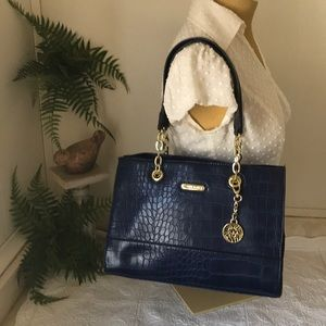 ANNE KLEIN Faux Croc Navy Satchel Handbag Purse